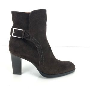 Tod's Brown Suede Heel Ankle Boot 9 US 39 EU Italy